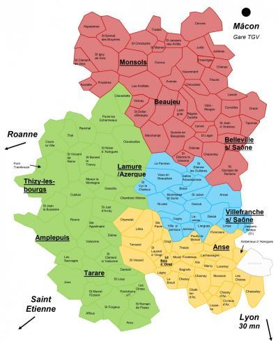 Carte pays beaujolais avec villes 2021